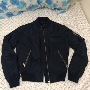 Topshop Navy Blue Bomber Jacket Small